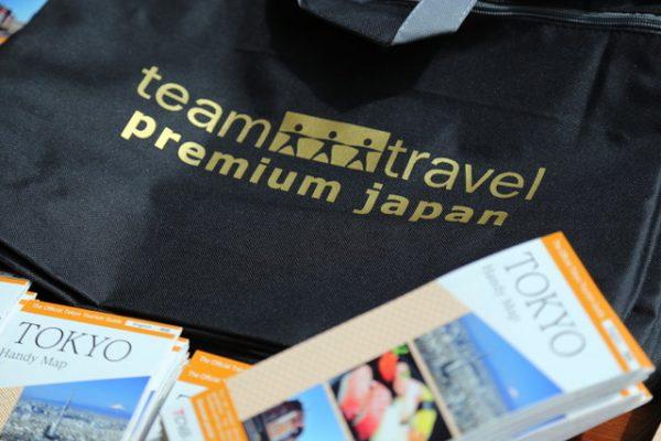 Tasche gebrandet mit dem Logo teamtravel