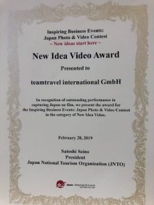 new video award by jnto