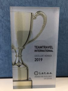Award for Excellence for teamtravel international from i.s.t.a.a. 2019